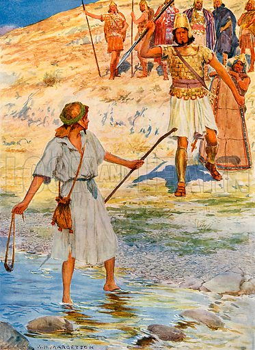 David and Goliath. Illustration from Child's Bible (Cassell, c 1900).