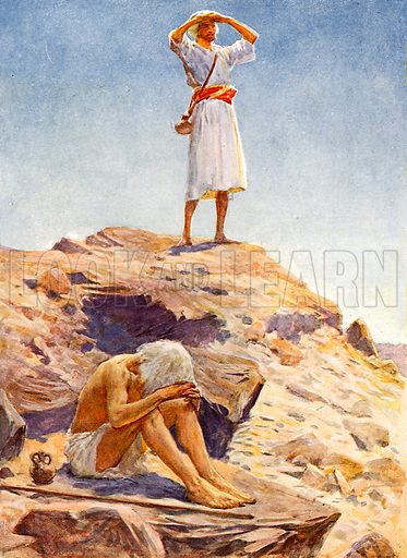 Elijah and his servant watching for rain on Mount Carmel. Illustration from Child's Bible (Cassell, c 1900).
