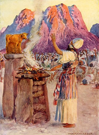 The Golden Calf. Illustration from Child's Bible (Cassell, c 1900).