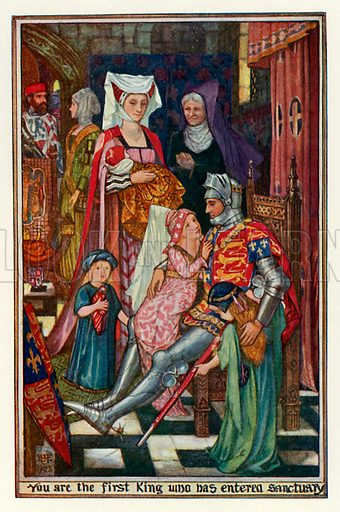 You are the first king who has entered sanctuary. Illustration for The Book of Princes and Princesses by Mrs Lang (Longmans, 1908).