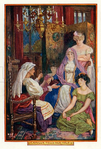 Camilla tells her tale. Illustration for The Book of Princes and Princesses by Mrs Lang (Longmans, 1908).