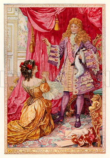 Marie Louise makes her petition to the king. Illustration for The Book of Princes and Princesses by Mrs Lang (Longmans, 1908).
