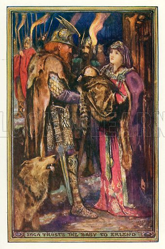 Inga trusts the baby to Erlend. Illustration for The Book of Princes and Princesses by Mrs Lang (Longmans, 1908).