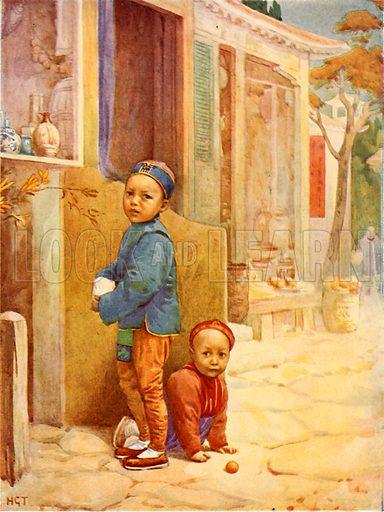 Chinese boys. Illustration for The Wonder Book of Children (Ward Lock, c 1910).