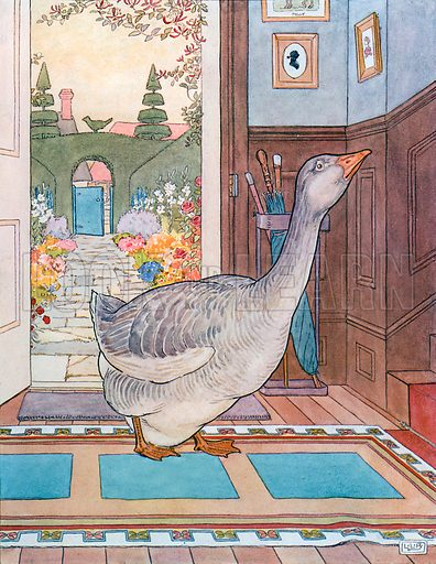 Goosey, Goosey Gander. Illustration for A Nursery Rhyme Picture Book (Frederick Warne, c 1900).