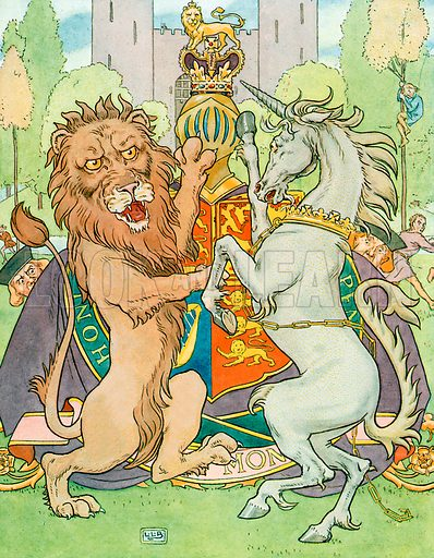 The Lion and the Unicorn. Illustration for A Nursery Rhyme Picture Book (Frederick Warne, c 1900).