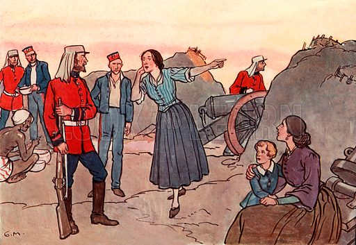 The Scotch Soldiers at Lucknow. Illustration for A nursery History of England by Elizabeth o' Neill (Jack, c 1920).