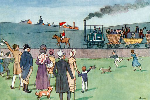 The first trains. Illustration for A nursery History of England by Elizabeth o' Neill (Jack, c 1920).