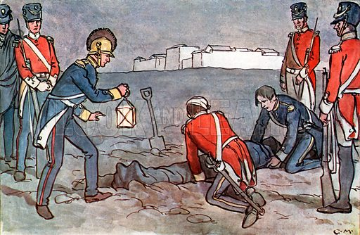The burial of Sir John Moore. Illustration for A nursery History of England by Elizabeth o' Neill (Jack, c 1920).