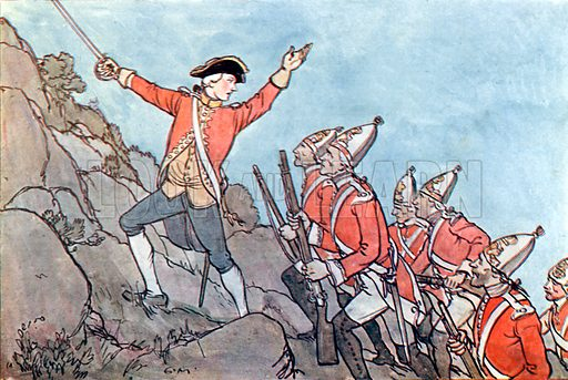 The Taking of Quebec. Illustration for A nursery History of England by Elizabeth o' Neill (Jack, c 1920).
