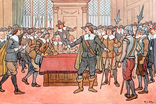 Oliver Cromwell and the Parliament. Illustration for A nursery History of England by Elizabeth o' Neill (Jack, c 1920).