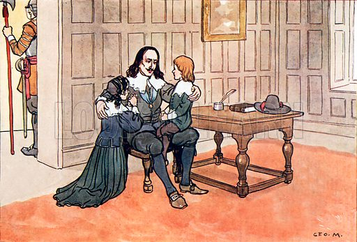 The death of King Charles I. Illustration for A nursery History of England by Elizabeth o' Neill (Jack, c 1920).