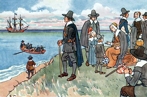 The sailing of the Mayflower. Illustration for A nursery History of England by Elizabeth o' Neill (Jack, c 1920).