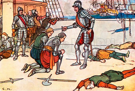 The Great Fight with Spain. Illustration for A nursery History of England by Elizabeth o' Neill (Jack, c 1920).