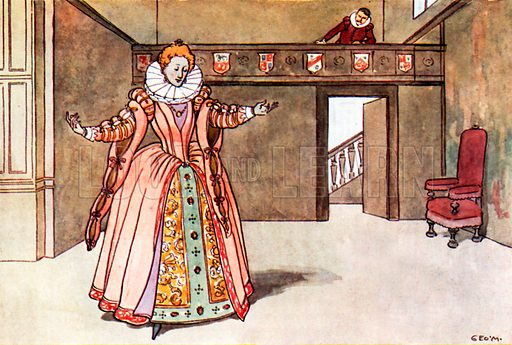 Queen Elizabeth I. Illustration for A nursery History of England by Elizabeth o' Neill (Jack, c 1920).