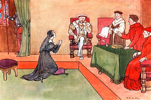 King Henry VIII and Queen Katharine of Aragon. Illustration for A nursery History of England by Elizabeth o' Neill (Jack, c 1920).