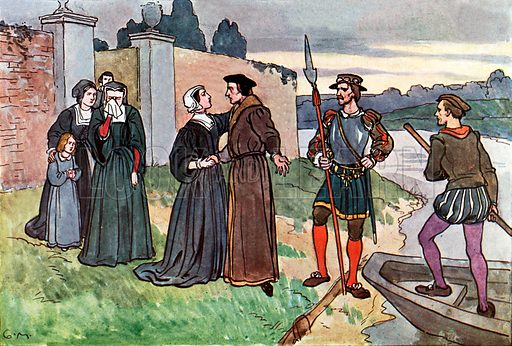 The Great Sir Thomas More. Illustration for A nursery History of England by Elizabeth o' Neill (Jack, c 1920).