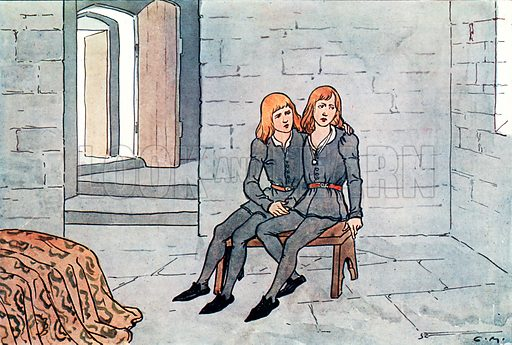 The Princes in the Tower. Illustration for A nursery History of England by Elizabeth o' Neill (Jack, c 1920).