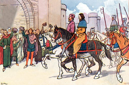 The end of King Richard II. Illustration for A nursery History of England by Elizabeth o' Neill (Jack, c 1920).