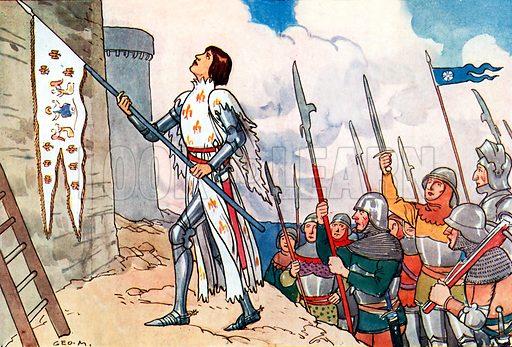 Joan of Arc. Illustration for A nursery History of England by Elizabeth o' Neill (Jack, c 1920).