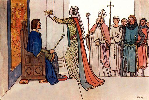 Robert Bruce, King of Scotland. Illustration for A nursery History of England by Elizabeth o' Neill (Jack, c 1920).