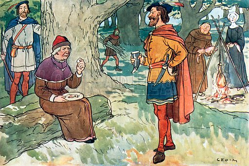 Robin Hood and the Sheriff of Nottingham. Illustration for A nursery History of England by Elizabeth o' Neill (Jack, c 1920).