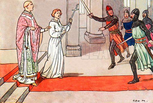 The death of St Thomas Beckett. Illustration for A nursery History of England by Elizabeth o' Neill (Jack, c 1920).
