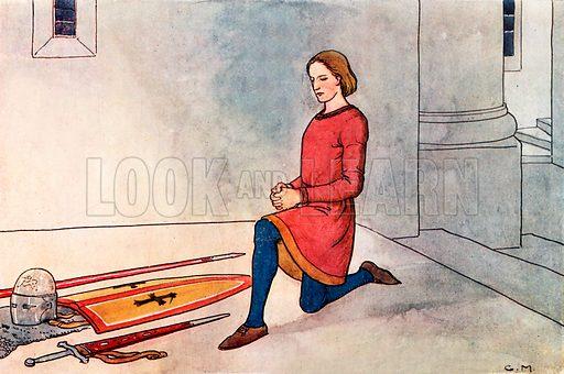 A Knight's Prayers. Illustration for A nursery History of England by Elizabeth o' Neill (Jack, c 1920).