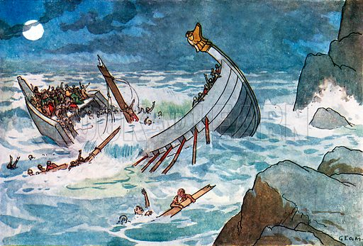 The Wreck of the White Ship. Illustration for A nursery History of England by Elizabeth o' Neill (Jack, c 1920).
