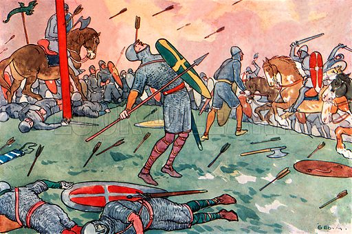 The Battle of Hastings. Illustration for A nursery History of England by Elizabeth o' Neill (Jack, c 1920).