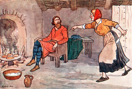 King Alfred and the Cakes. Illustration for A nursery History of England by Elizabeth o' Neill (Jack, c 1920).