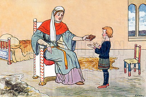 The Young Alfred with his mother, Queen Osburga. Illustration for A nursery History of England by Elizabeth o' Neill (Jack, c 1920).