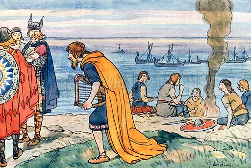 King Alfred and the Danes. Illustration for A nursery History of England by Elizabeth o' Neill (Jack, c 1920).