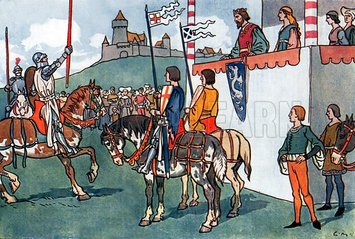 The Great King Arthur. Illustration for A nursery History of England by Elizabeth o' Neill (Jack, c 1920).