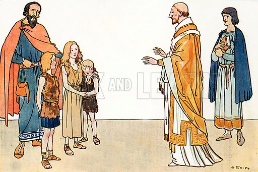 St Gregory and the English children. Illustration for A nursery History of England by Elizabeth o' Neill (Jack, c 1920).