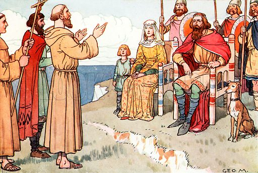 St Augustine and the English. Illustration for A nursery History of England by Elizabeth o' Neill (Jack, c 1920).