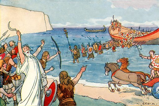Julius Caesar and the Britons. Illustration for A nursery History of England by Elizabeth o' Neill (Jack, c 1920).