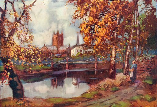 Hereford Cathedral, from the River Walk. Illustration for Hutchinson's Britain Beautiful (c 1910).