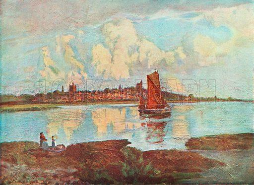 Maldon, from Heybridge. Illustration for Hutchinson's Britain Beautiful (c 1910).
