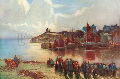 Tenby Castle and the Harbour. Illustration for Hutchinson's Britain Beautiful (c 1910).