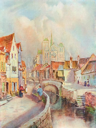 A View of Amiens and the Cathedral. Illustration for The Spendour of France (Hutchinson, c 1910).