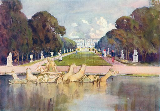 A View of the Palace Gardens at Versailles. Illustration for The Spendour of France (Hutchinson, c 1910).