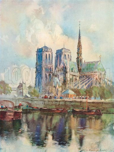 The Cathedral of Notre Dame, Paris. Illustration for The Spendour of France (Hutchinson, c 1910).