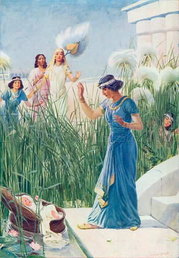The Babe among the Bulrushes. Illustration for The Bible Picture Book.