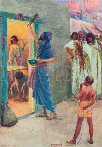 The First Passover. Illustration for The Bible Picture Book.