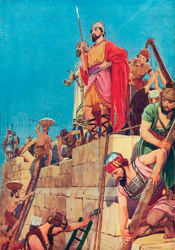 Rebuilding the Walls of Jerusalem. Illustration for The Bible Picture Book.