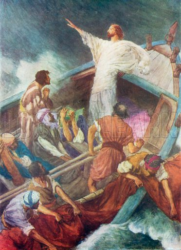 Jesus stilling the Storm. Illustration for The Bible Picture Book.