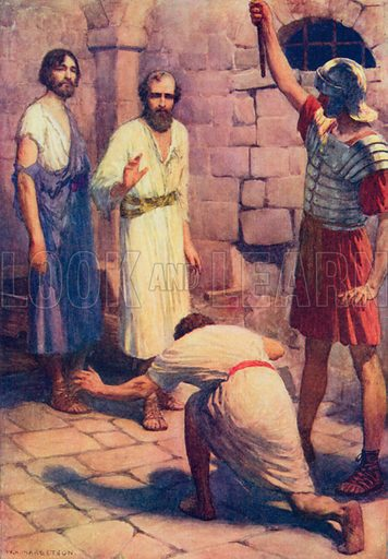 Paul and Silas in Prison. Illustration for The Bible Picture Book.