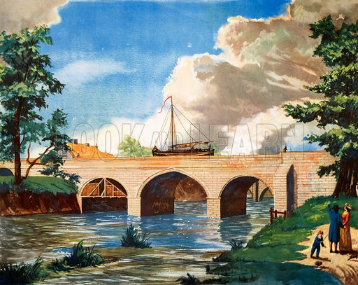 Macmillan's history picture. The Aqueduct on the Bridgewater canal at barton, 1761. Original poster for sale for £50 including VAT and postage within the UK.