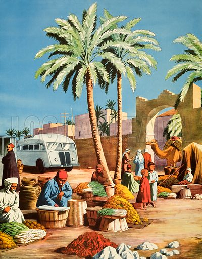 Macmillan's history Pictures. An oasis in North Africa. Original poster for sale for £50 including VAT and postage within the UK.